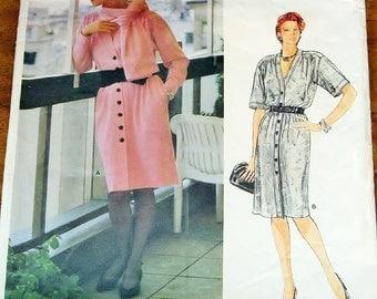 Vintage 1980s Sewing Pattern Vogue Paris Original 1342 Yves Saint Laurent Sweater Dress, Scarf, Womens Misses Size 12 Bust 34 Complete Uncut