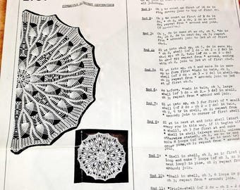 "Vintage 1950s Mail Order Crochet Pattern 2757, Starburst Doily, 25"" 20"" Round, Crocheted Thread Lace Pineapple Tabletop Centerpiece Doilies"