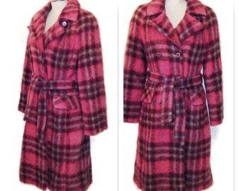 60s Pink Coat Pink Mohair Coat Pink Tartan Coat Pink Plaid Coat 1960s Belted Coat Mohair Fall Coat Pink Winter Coat Pink Dress Coat