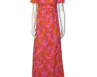 60s Maxi Dress Pink Orange Purple  MOD Maxi Dress 1960s Long Dress Empire Waist Dress Short Sleeve Dress 60s Party Dress Orange Pink Dress