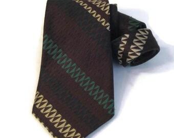 70s Wide Tie Brown Green Tie 1970s Schiaparelli Tie Brown Striped Tie Wide Striped Tie Vintage Wide Necktie Bold 70s Tie