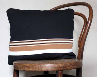 Black/ beige white stripe accent cushion/ Decorative Pillow for Sofa. 1970s Retro Look. 16x20'' (40x50cm). SHIPS FREE