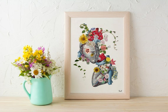 Summer Sale Wall art prints Hearts in love -Anatomical heart, wall decor,  1 st anniversary gift, Wall art prints Anatomy art SKA121WA4