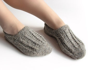 EU Size 37-38 - Hand Knitted Woolen Slippers - Winter Eco Clothing