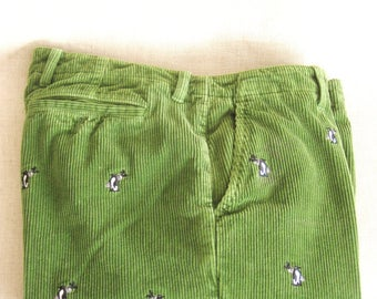 Vintage J Crew Embroidered Green Corduroy Pants, Mens, 34, Penguins, Golfing, Motif Pant, Preppy, Kelly Green, Casual Pant, Sporty, Theme