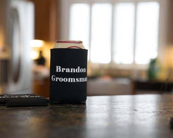 Groomsmen drink holder. Personalized wedding gift. Groom, Best Man. Customized Bachelor party gifts. Funny customized beverage insulator.