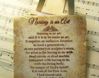 "Nursing is an Art by Florence Nightingale, Nurses, Nurses' Aides, 4"" x 4"" Stone Gift, Wooden Easel and Stone Display"