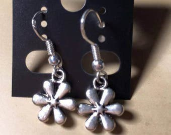 Silver Accented Flower Dangle Earrings for Pierced Ears, Flower Power, 60's Inspired