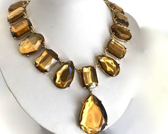 Golden Topaz  Collar Necklace Gold Stone Chunky Statement Necklace Gold Stone Large Stone Statement Necklace