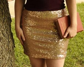 Blush Mini Sequin Skirt - Stretchy, beautiful, fun mini skirt (Small, Medium, Large, XLarge) Made in LA!