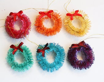 "1.5"" Bottlebrush Wreath Ornaments - Color Collections Set of 6"