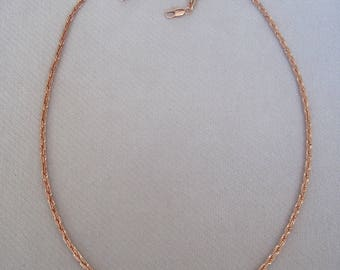 "3mm Wide Shiny Cut Cable Linked 24"" Plated Rose Gold Chain"