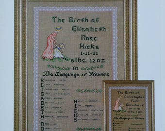 Jeanne Bowers   Victorian Language of Flowers   BIRTH SAMPLER   Green Apple Co.   Counted Cross Stitch Pattern   Chart