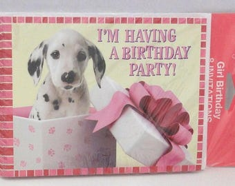 Vintage Girl Birthday Invitation Cards by Tender Thoughts (Pkg. of 8 Cards with Envelopes) Dalmation Puppy in Box Birthday Fun Party Note