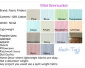 Mini Stripe Seersucker Pink Blue Turquoise Red Navy Raspberry Aqua or Orange  Material Cotton Fabric