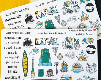 The Great Outdoors~ Hand Drawn Deco stickers for all planners