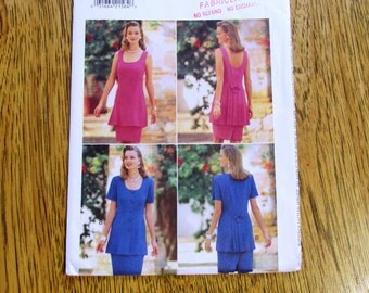 1990s DESIGNER Fit and Flare Tunic w/Pleated Bustle & Pencil Skirt - Size (12 - 14 - 16) - UNCUT Vintage Sewing Pattern Butterick 3996