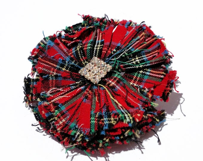 Recycled Vintage Fabric Flower Clip - Plaid Tartan with Rhinestone Center