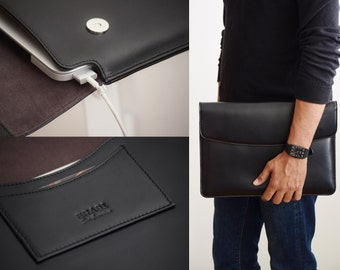 Black leather laptop sleeve - MacBook Pro 13 inch sleeve - Vegetable tanned leather sleeve - Leather business folio - Laptop portfolio men
