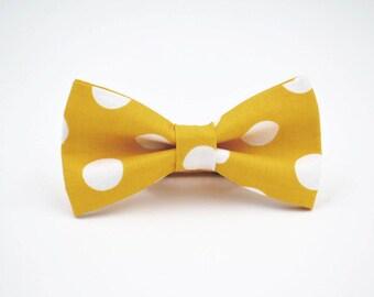 Mens Bow Tie in Mustard Polka Dot, Adjustable Bow Tie, Wedding Bow Tie, Yellow Bow Tie, Bowties By AmandaJoHandmade on Etsy