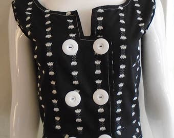 Vintage 1950s Summer Blouse Black with White Flocked Design Cropped Huge Buttons