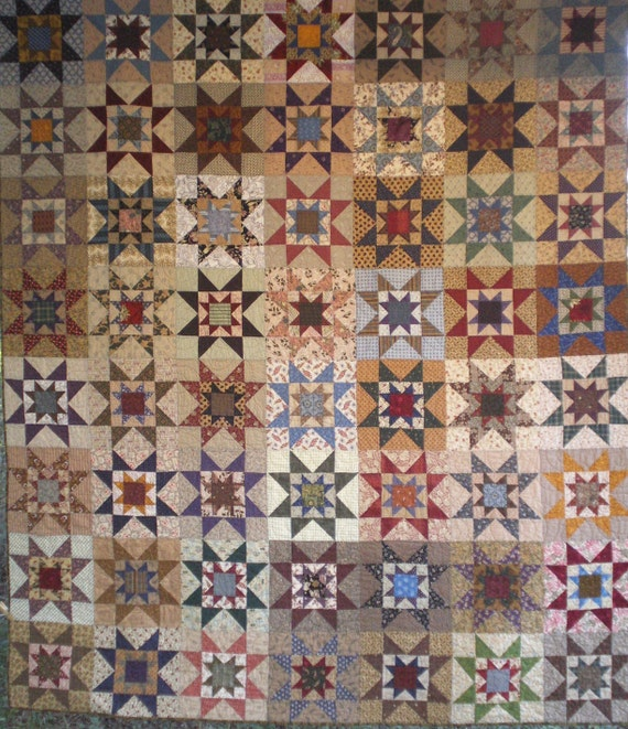 Queen Size Ohio Star Quilt in Traditional Fabrics Custom Only