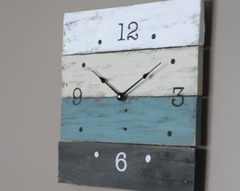 Pallet Wood Clock, Beach House style...ReCycled wood...distressed...teal OR Customize Your Clock. Gift idea. 5 Year Anniversary