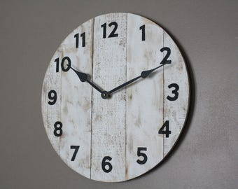 """18"""" white shabby chic rustic farm house style clock. Quality pine wood made to look like reclaimed pallet wood. Distressed"""