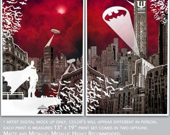 Batman Gotham City Print Set Fine Art Print Set / Geekery / Comic Book / Super Hero