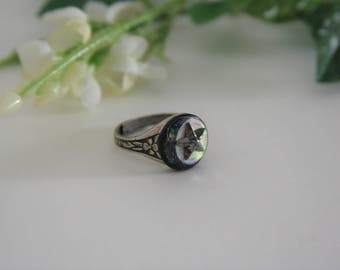 Crescent Moon Ring Antique Mother of Pearl Button Steel Star - made with an antique MOP button