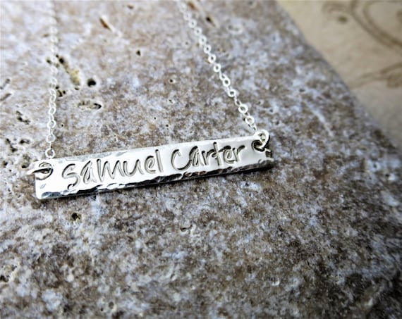 Name Necklace - Sterling Silver Bar - Custom Name Jewelry - Mommy Jewelry - Personalized Necklace - Silver Name Bar - Horizontal