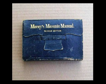 The Masonic Manual 1867 Printing! Scarce Masonic Book - Early Victorian Era - Wallet Style Leather Binding - Illustrated Revised Edition