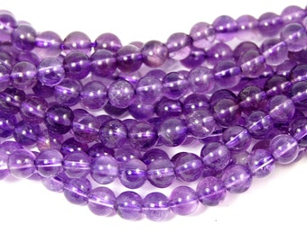 Light Amethyst Beads, 6mm AB+  round beads  -15.5 inch strand