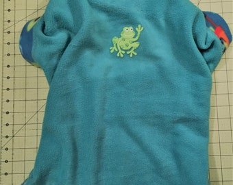Teal Blue with Green DJ Frogs Fleece Dog Sweater - Large