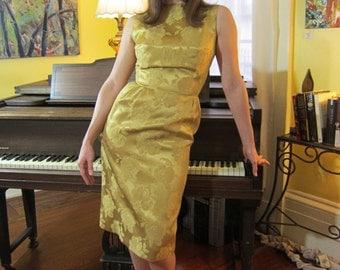 1950's-1960's Gold Silk Brocade Wiggle Dress