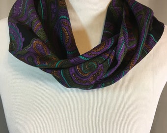 Purple Paisley Scarf with Turquoise Dark Green Gold and Black 59.5 Inches by 7 Inches