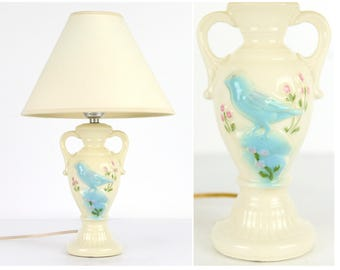 table lamp, bluebird, accent lamp, feminine, flowers, cottage chic, bedside lamp, accent lamp, cream,robins egg blue, bird, raised detail