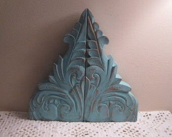 Pair of Primitive Hand Carved Wood Pediments - Shabby Rustic Shelf Brackets - Shabby Chic Wall Decor - Distressed in  Cool Icy Blue