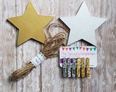 Star Child's Art Display Hanger in silver and gold metalic,  Kids Artwork Display, Card Display, Art Display Line, Photo Display