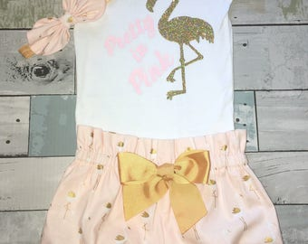 Gold Flamingo Onesie, Girls 1st Birthday Onesie Outfit, Bloomers, Knot Bow Headband, Carters Onesie, Sparkly Flamingo Onesie, Diaper Covers