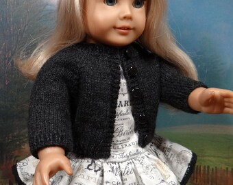 1930s style ruffled dress and cardigan for American Girl Ruthie, Kit or similar 18 inch doll.
