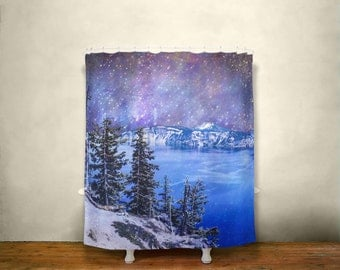 surreal shower curtain space decor nature shower curtain crater lake oregon mountain
