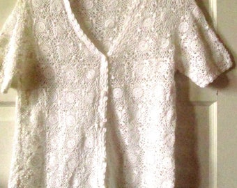 Hand Crocheted White Cotton Lace Top, S - XS