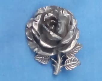 Vintage Miracle Rose Brooch - Antiqued Pewter - Made in England