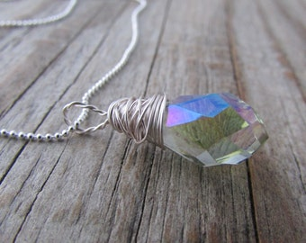 Crystal Necklace pendant faceted prism mystic crystal wire wrapped necklace