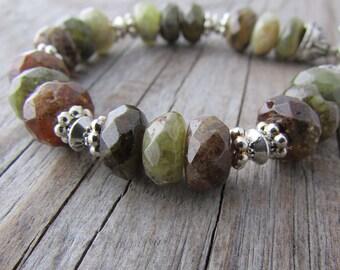Green Garnet Bracelet, olive green, faceted garnet gemstone, adjustable bracelet