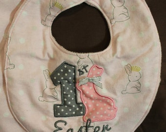 1st Easter Baby Bib, Pink with Bunnies and Burp Cloth Fits 3+ Months - Ready To Ship