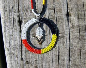 Native American style handmade beaded medicine wheel necklace