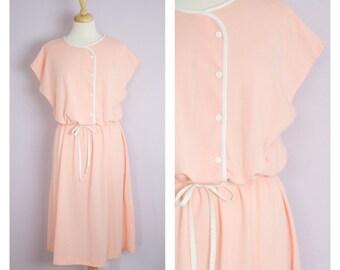 Vintage 1980's Peach Cotton Knit Belted Midi Dress XL