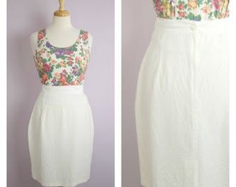 Vintage 1980's White High Waist Pencil Skirt M